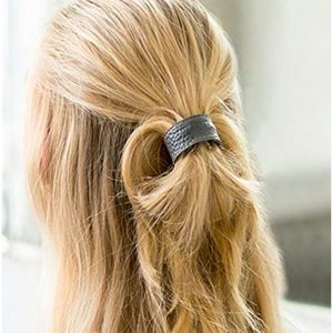 Leather cuff hair tie